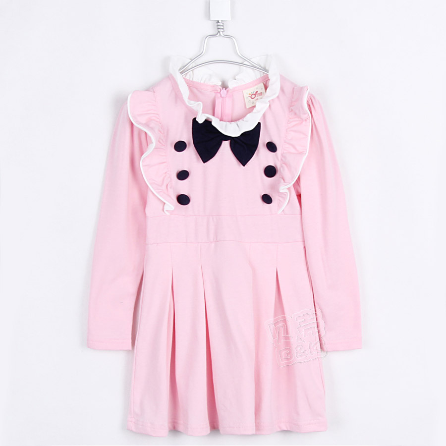 2015 spring and autumn bow girls clothing baby child long-sleeve dress A0008(China (Mainland))