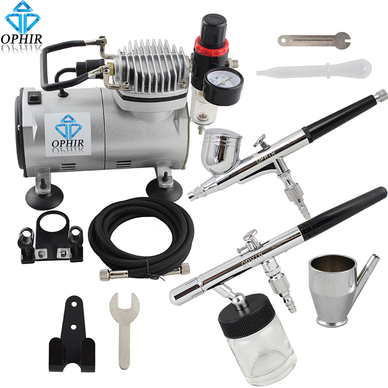 OPHIR Airbrush Kit with Air Compressor 0.3mm Dual Action & 0.8mm Single Action Airbrush Gun for Model Paint Cake _AC089+004+072(China (Mainland))