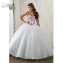 Cristal Branco Vestido De Baile Quinceanera Vestido de Baile Sem Mangas Lace Up vestido Formal vestidos de 15 años Querida Vestido do baile de Finalistas(China)