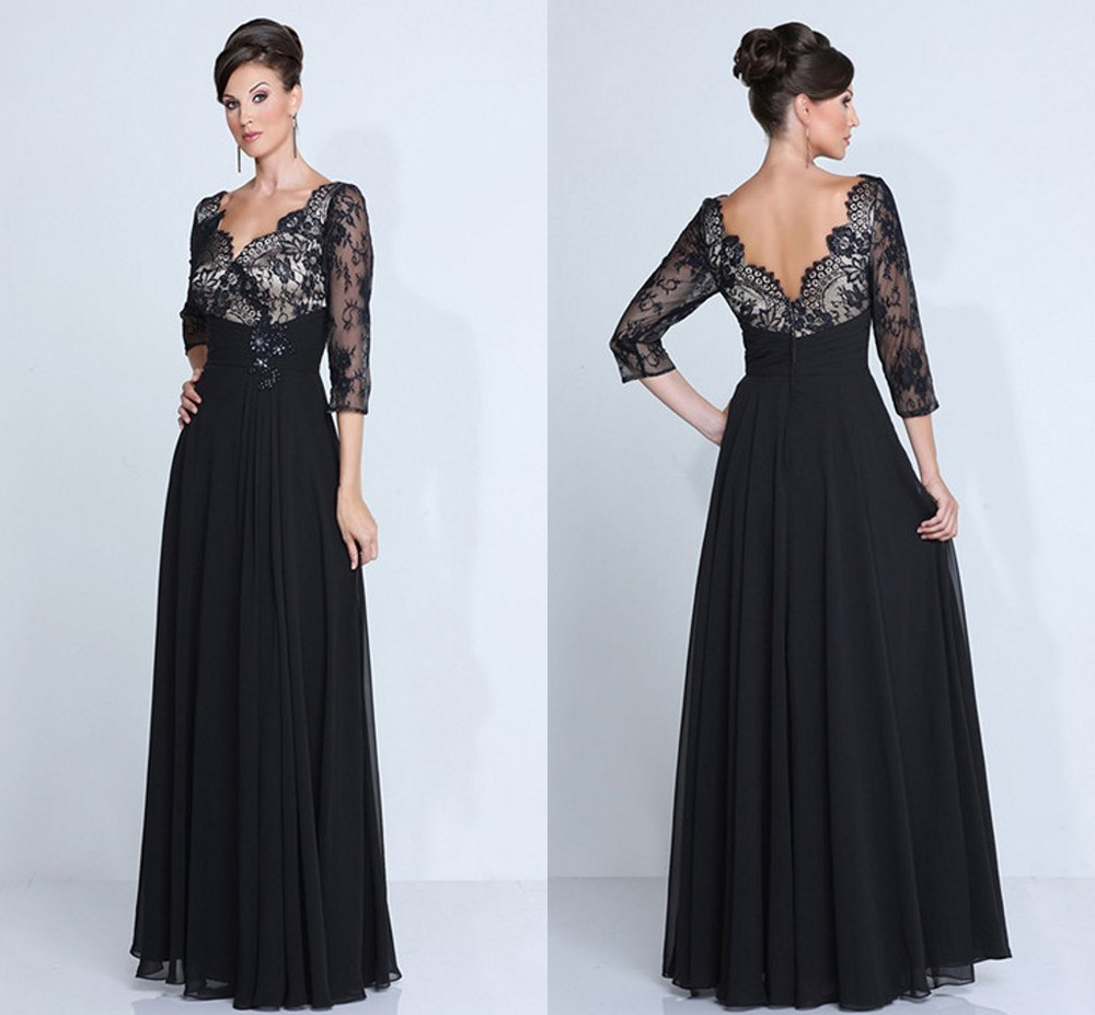 Hot sale chiffon mother of the bride dresses black plus for Plus size dresses weddings and proms