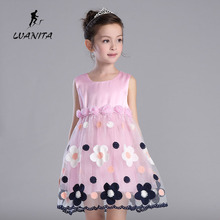 New style summer girls clothes 100% cotton crew neck pink floral dress preppy style ball gown dress free shipping