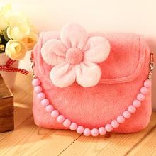 Lovely Stereoscopic Flowers Plush Messenger Small Bag Princess Package For Baby Girls Children Kindergarten Handbag Gift 30(China (Mainland))