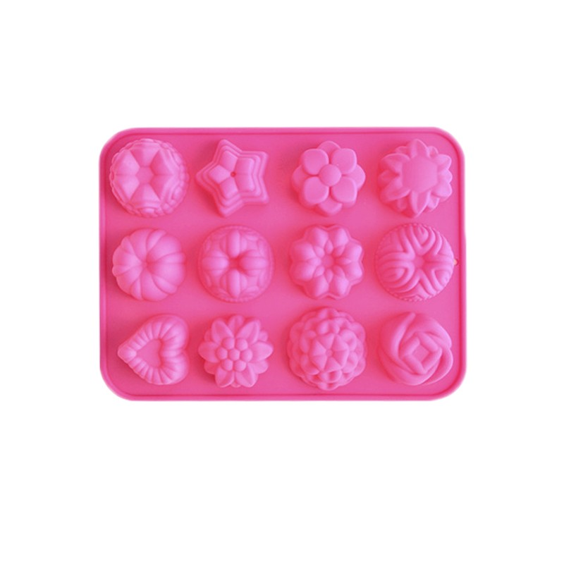 3D Silicone Cake Mould Muffin Tray Candy Cupcake Jelly Ice Mold 12 Flowers Chocolate Bakeware Tools Decorating - Colourful Technology Co., Ltd. store