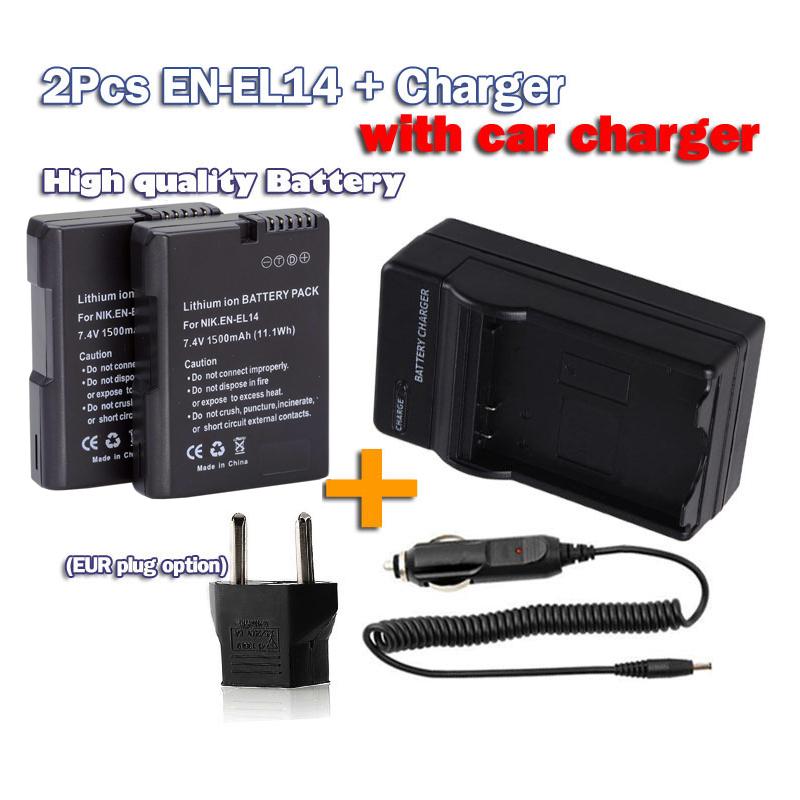 1500mAh bateria EN-EL14 en-el14a EN EL14 Battery +Car charger Kit Nikon D5300 D5200 D5100 D3100 D3200 D3300 P7100 P7800 - Online-gifts store