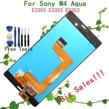 Большие скидки черный или белый полный жк-дисплей + планшета с сенсорным экраном стекло ассамблея для Sony Xperia M4 аква E2303 E2306 E2312 E2333(China (Mainland))