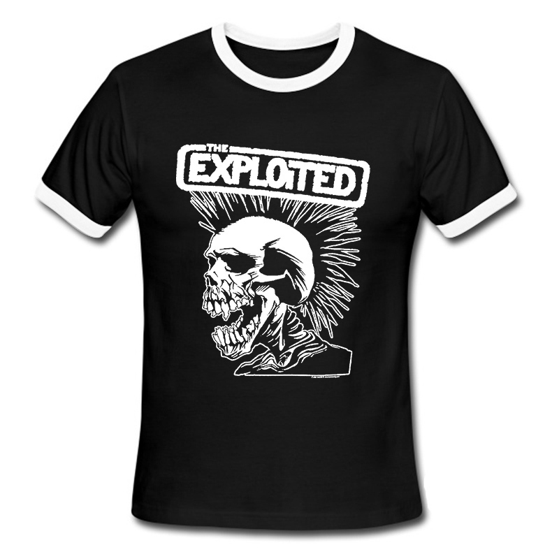 High Quality Men T Shirts Punk Rock The Exploited Printed T-shirt Casual Short Sleeve for Men's Clothing Summer Swag Skull(China (Mainland))