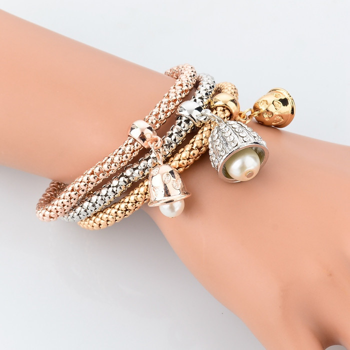 Gold-Silver Plated Bracelets with Pearl Bells Charmes