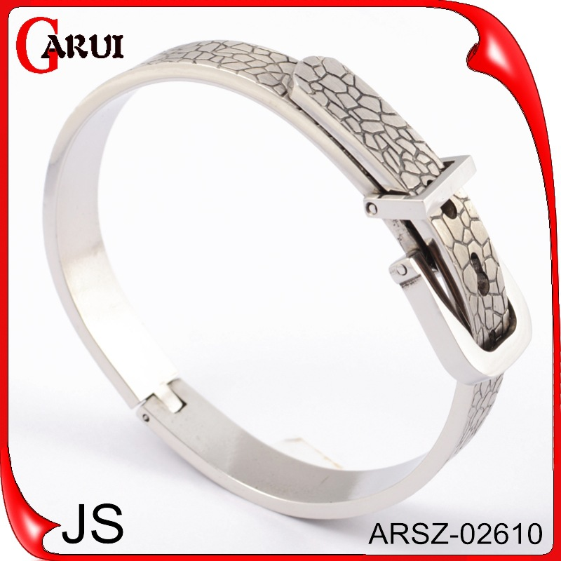 2015 new high quality stainless steel nail silver bracelet women jewelry Cuff Bangle Fine groove pattern for couple and man(China (Mainland))