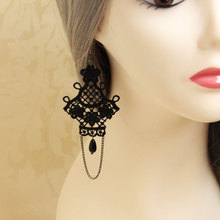 HOT Fashion Street Women Girl Black Lace Chandelier Drop Earrings Vintage Gothic Victorian Style Classic Jewelry Gift(China (Mainland))