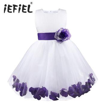 Kids Infant Girl Flower Petals Dress Children Bridesmaid Toddler Elegant Dress Pageant Vestido Infantil Tulle Formal Party Dress