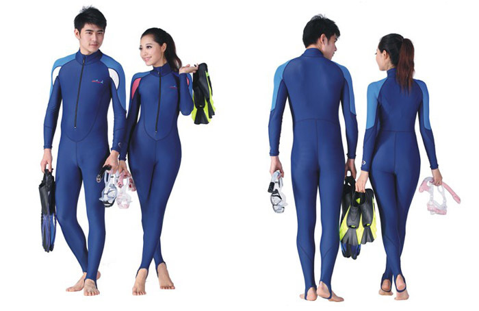 Men's and women's Swimwear snorkeling Diving Jump Suit Skin UV Protection Suit Long Sleeves Floatsuit Free Shipping(China (Mainland))