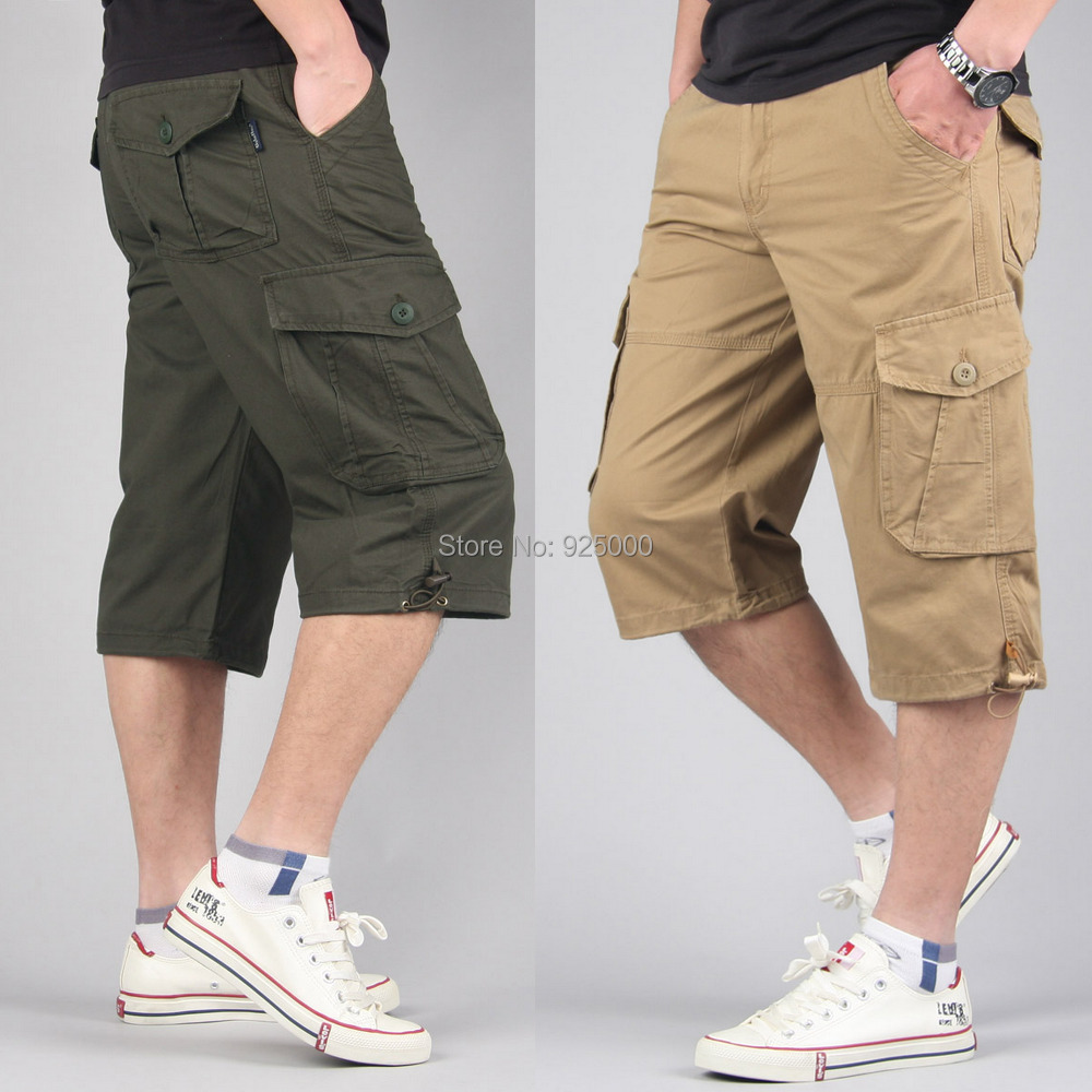 Fashion mens Cotton Summer Plus size fat multi pockets outdoor work cargo shorts long Capri men 5XL 6XL 7XL 8XL 36 38 40 - Easy World Trading store
