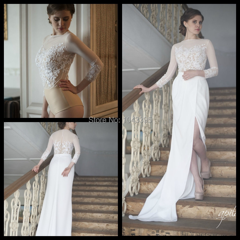 Chic long sleeves scoop neck white and nude wedding dress for White wedding dresses with long trains