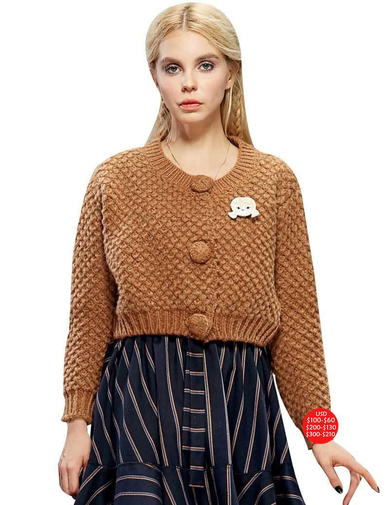 Здесь можно купить  Elf SACK sports autumn female vintage solid color all-match short design cardigan  Одежда и аксессуары