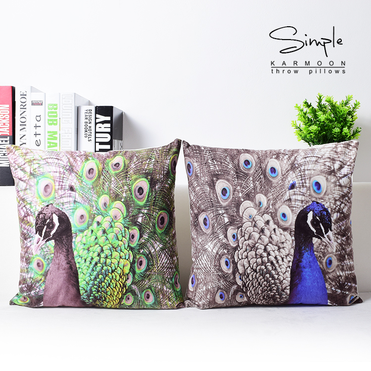 Super soft velvet peacock feather home decor pillow cover decorative cushion cover throw pillow - Enhance your home decor with fancy cushions ...