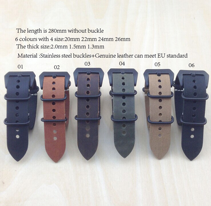 zulu strap New arrived - 20MM,22mm*2.0 Nato genuine leather Watch band NATO straps watch & Accessories For You store