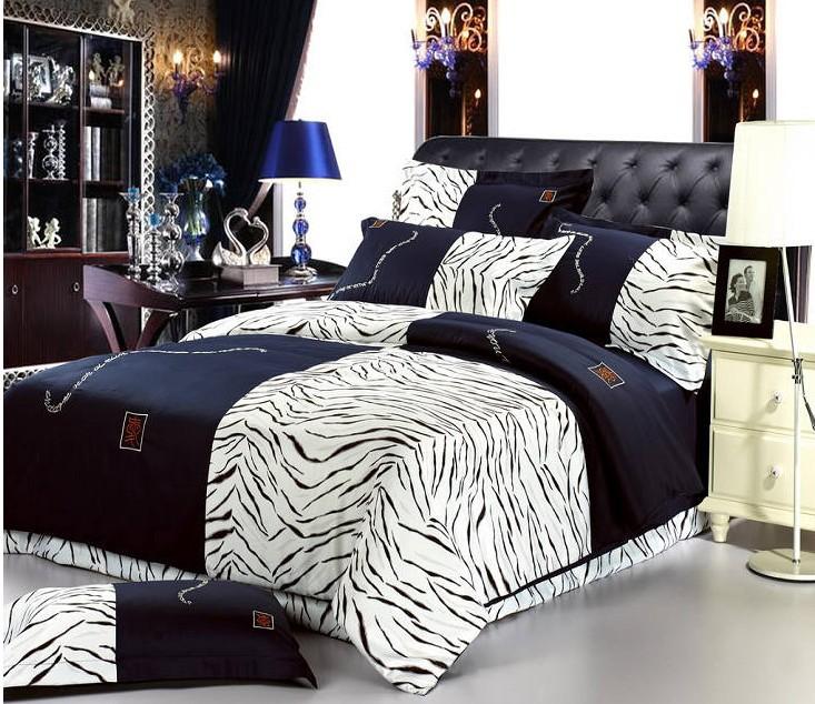 buy zebra 100 cotton bedding sets for queen size bedspread duvet cover bed in. Black Bedroom Furniture Sets. Home Design Ideas