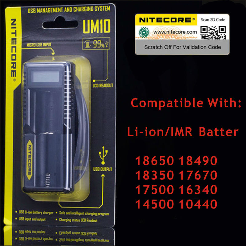 100% Original Nitecore Smart Battery Charger UM10 Digicharger LCD Display Universal USB Power Li-ion - Digital Fittings E-shop store
