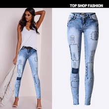 European and American popular slim pencil pants stretch denim jeans slim hole multi hole patch has large(China (Mainland))