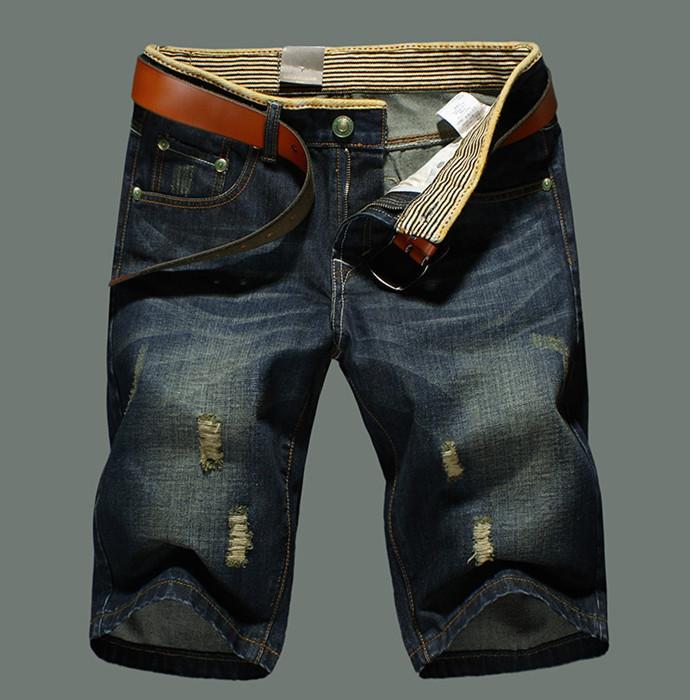 Men's jeans Knee Length Hole Fashion casual cotton brand men European style retro Shorts - Ben john's store