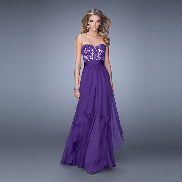2015 Women Sexy Strapless Chiffon Purple Lace Embroidery Evening Dress Plus Size Sweetheart A-line Long Prom Formal - Romantic Serendipity store