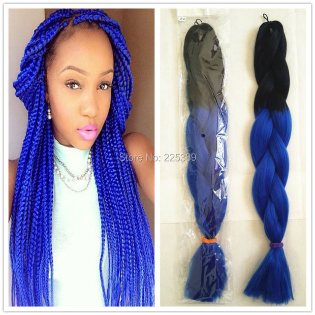 Crochet Box Braids Ombre : ... Blue Ombre Kanekalon Jumbo Braiding Hair Soft Afro Crochet Box Braids