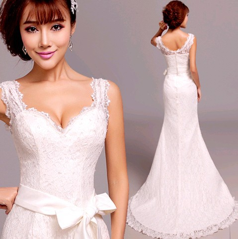 Princess sexy mermaid Wedding Dresses 2015 plus size v-neck lace Wedding Dress belt 963(China (Mainland))