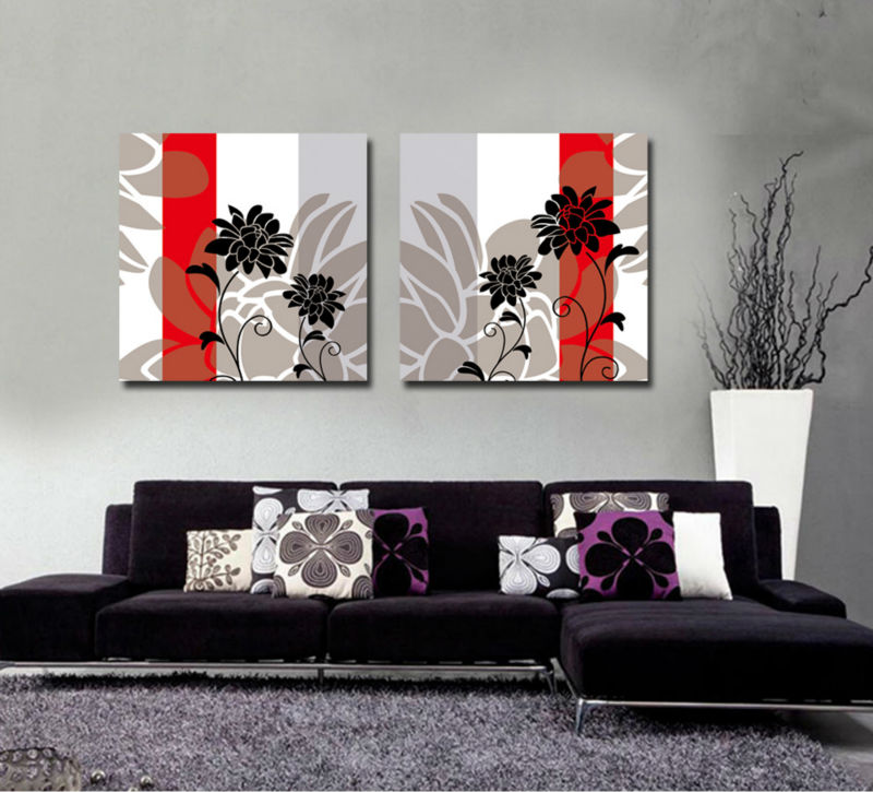 2 pieces hot sell modern wall painting black and white for Decor 2 sell