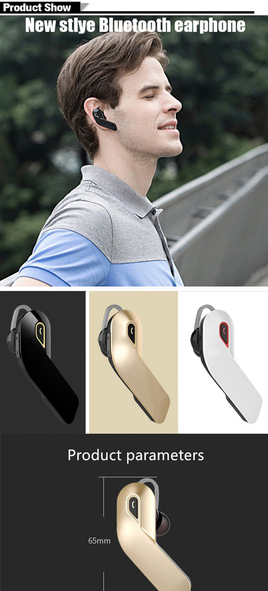 Y97 Bluetooth Headset Stereo Handsfree Business Mini Wireless Jabra Rox Earphone Putih Limited 4 Connection Distance 10 Meters
