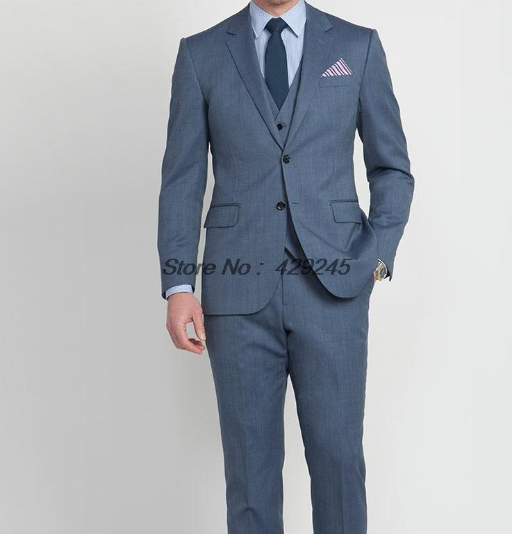 2014 new fashion wedding suits for men steel blue micro