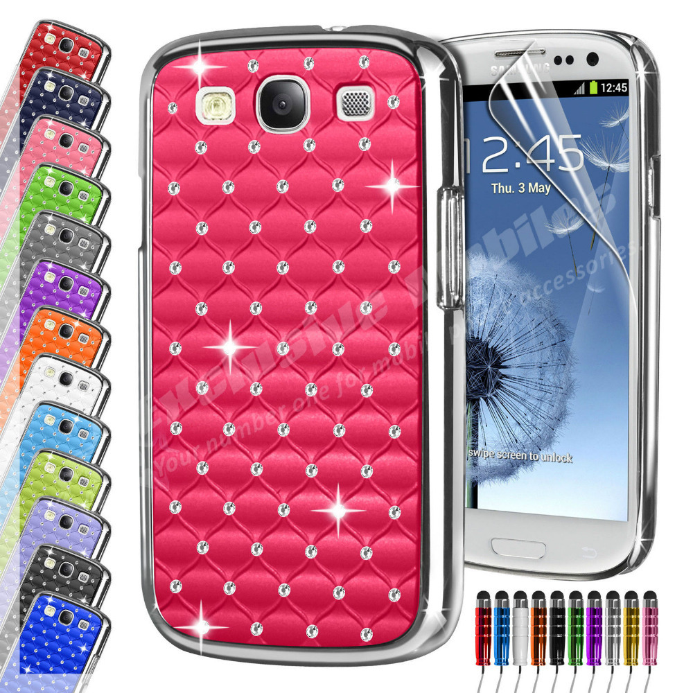 Diamante Bling Chrome Phone Case Cover & Screen Protector &Stylus Pen For Samsung Galaxy S3 i9300(China (Mainland))