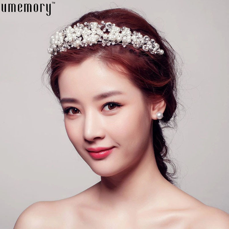 Free Shipping 2015 New Arrival Luxury Wedding Jewelry Bride Wearring Big Tiara Fashion Pearl Tiara Crown Bridal Accessories(China (Mainland))