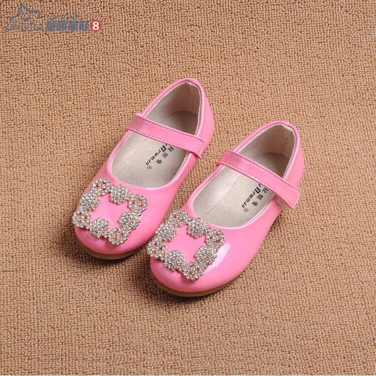 2016 Spring Summer New Shining Diamond Children Sandals Black Red Pink Kids Shoes Girl Flat Shoes Eur21-30.