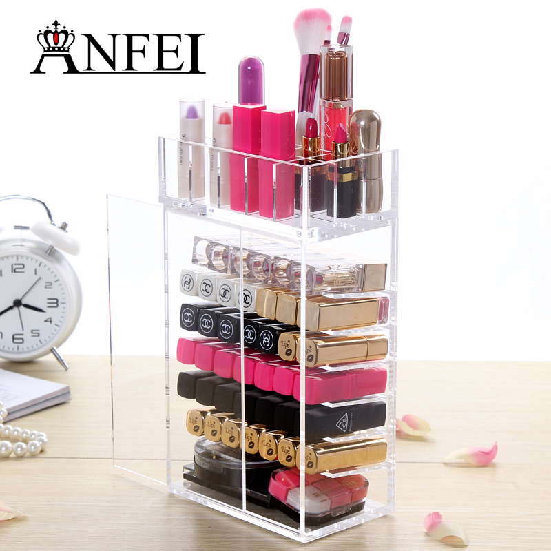 Fashion New Design Acrylic Lipstick Stand Holder Cosmetic Brush Organizer Case Jewelry Storage Box Display With Door For Women(China (Mainland))