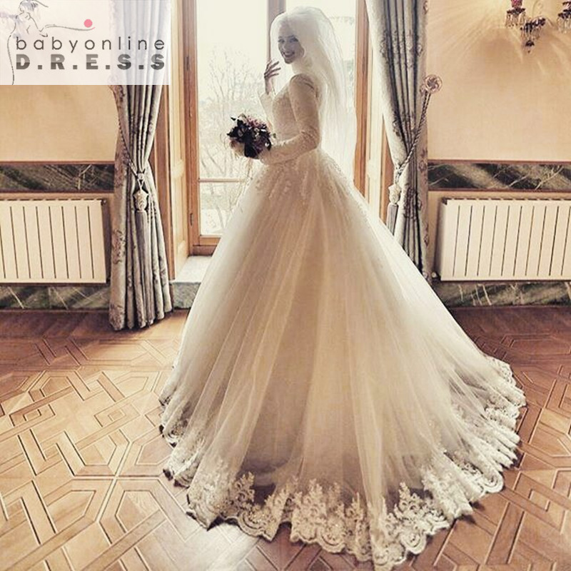Luxury Jewel Lace Long Sleeves Muslim Hijab Wedding Dress 2016 lace up back lace applique islamic Bridal Gowns(China (Mainland))