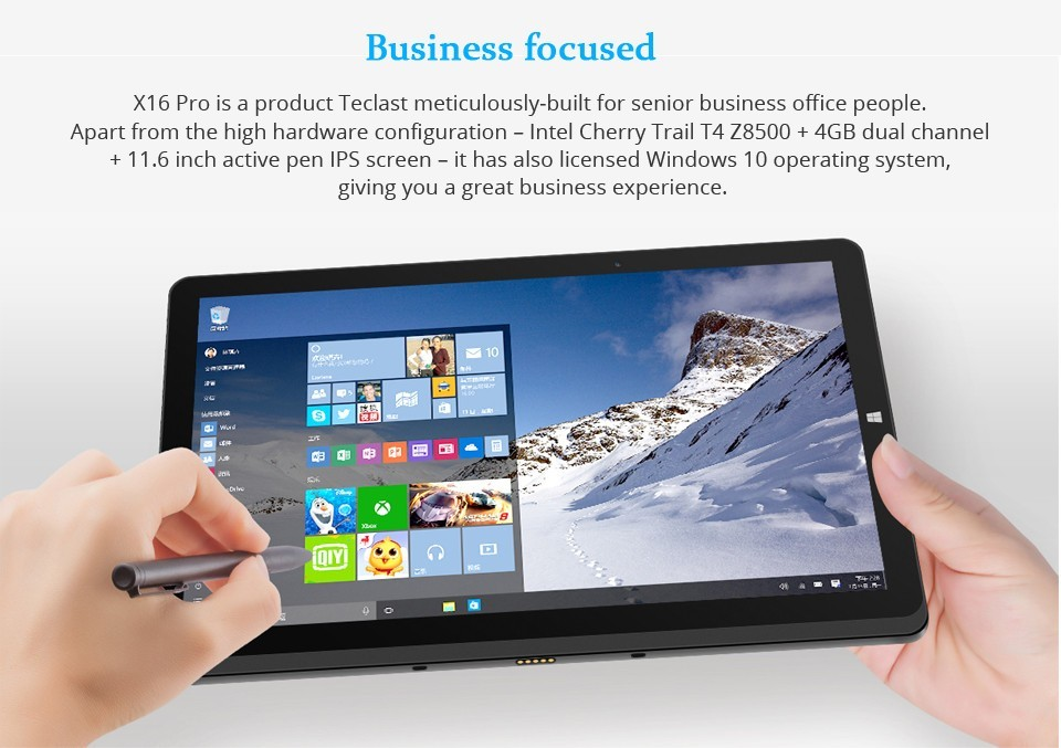 Newest Original 11.6 inch IPS 1920*1080 Teclast X16 Pro Windows10+Android5.1 Intel Z8500 Quad Core 4GB+64GB Dual Boot Tablet PC