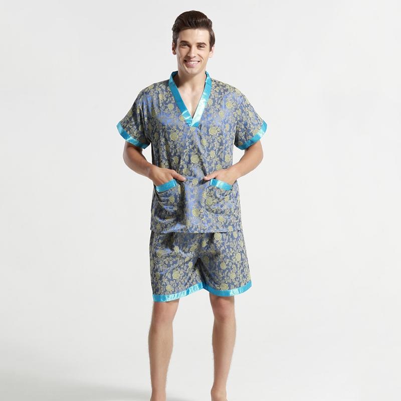 New Design Men Pajamas Set Chinese National Style Embroidery Sleepwear Summer Casual Home Wear Man O-Neck Nightwear