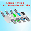 2 In1 Retractable Type C Micro USB Type C 2 1 A USB Data Sync Cable