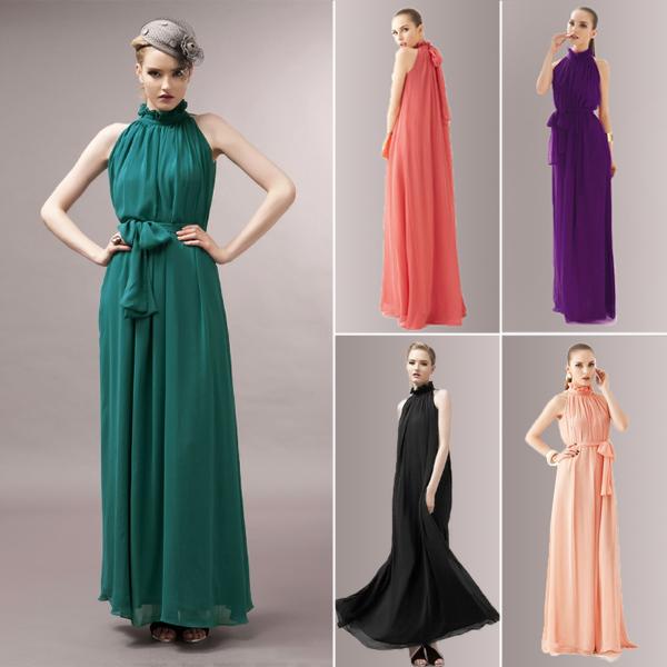 2015 New Summer Bohemian Women Chiffon Floor-Length Long Dresses Sleeveless Off the Shoulder Dress Vestidos, 8 Color, Free Size(China (Mainland))