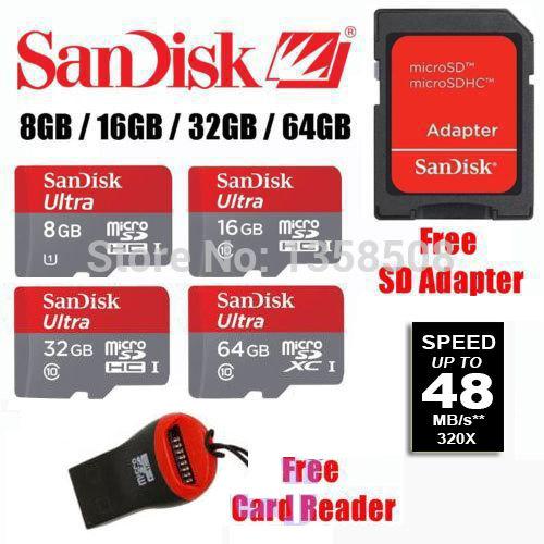 100% Original Genuine SanDisk 64GB 64G 32GB 32G 16GB 16G 8G Ultra micro SD SDHC SDXC Card TF Class 10 C10 48MB/s Free Tracking(China (Mainland))