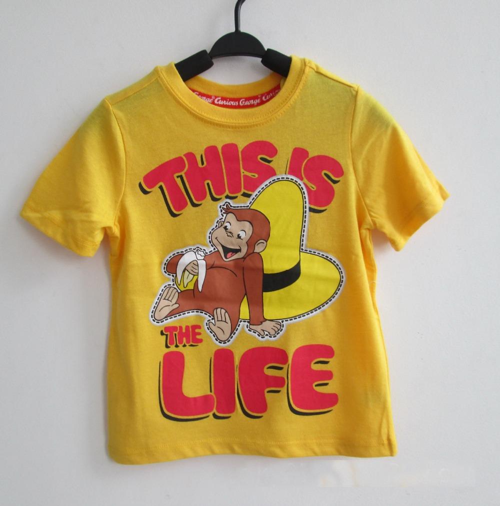 Curious George childrens summer t shirt Kids boy boys short sleeve Yellow T-shirt tees top t shirt 10 pcs/lot(China (Mainland))
