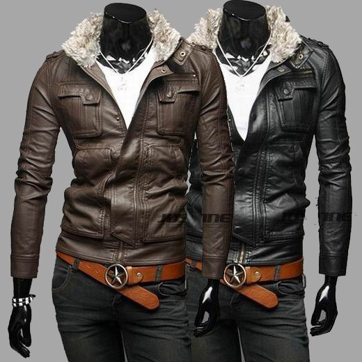 2013 Fall/Winter removable fur collar mens slim fit Washe PU leather Jacket Fashion coat - Jazz Still Clothing Ltd, store
