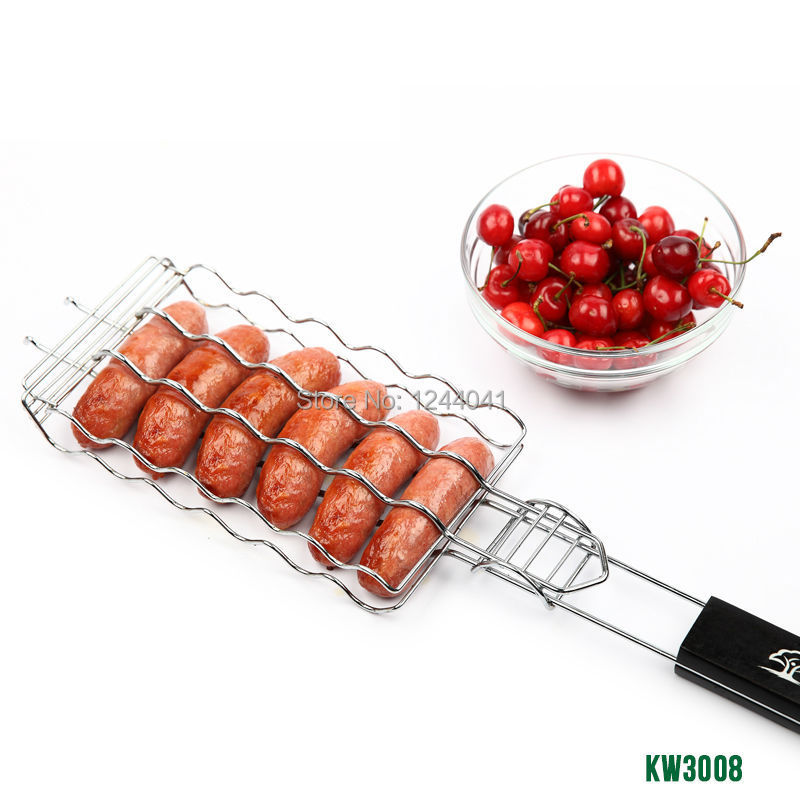 Hot Dog Rack Metal Mesh Baskets BBQ Barbecue Sausage Grilling Basket Grill Rack BBQ Accessories Christmas Party BBQ Tool 21.8''(China (Mainland))