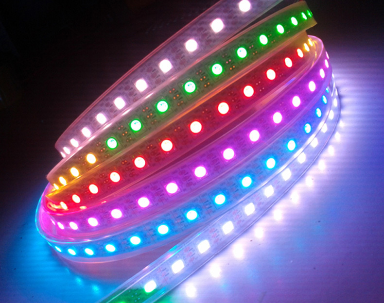 5m WS2812B flexible DMX RGB LED strip light IP67 waterproof DC5V 30LEDs/m 30Pixels/m(China (Mainland))