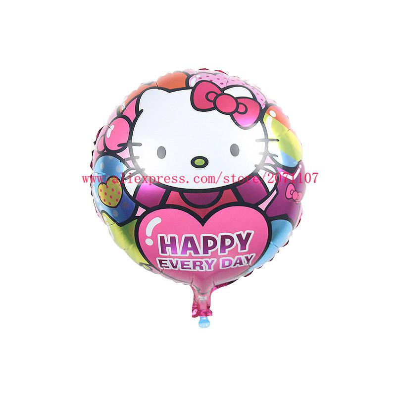 Lucky 10pcs/lot 45*45cm Rould Hello Kitty Balloon Cartoon Cat Foil Helium Balloons Birthday Wedding Party Decoration Ballon Toy(China (Mainland))