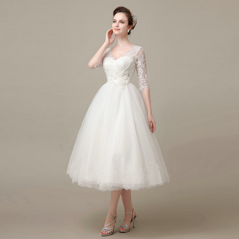 Buy hot sale half sleeve cheap mid calf for Wedding dresses with sleeves for sale