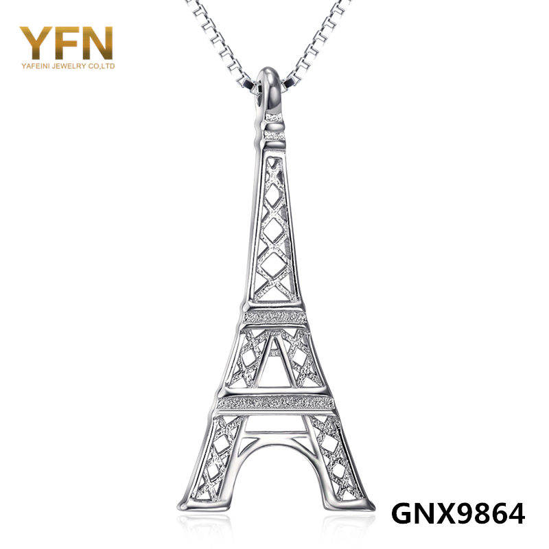 """GNX9864 """"Pray For Paris"""" New Arrival 925 Sterling Silver The Eiffel Tower Pendant Necklace Fashion Jewelry For Woman Wholesale(China (Mainland))"""