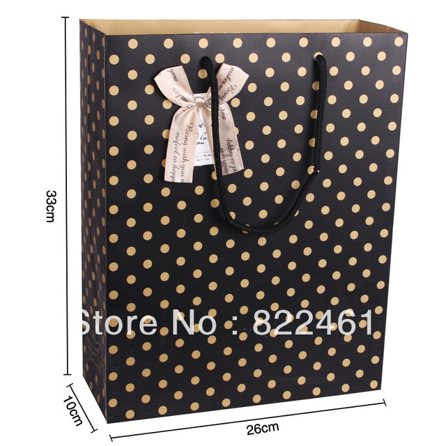 33*26*10CM Han edition black spot on the new version vertical bag paper bag gift bag paper bags wholesale