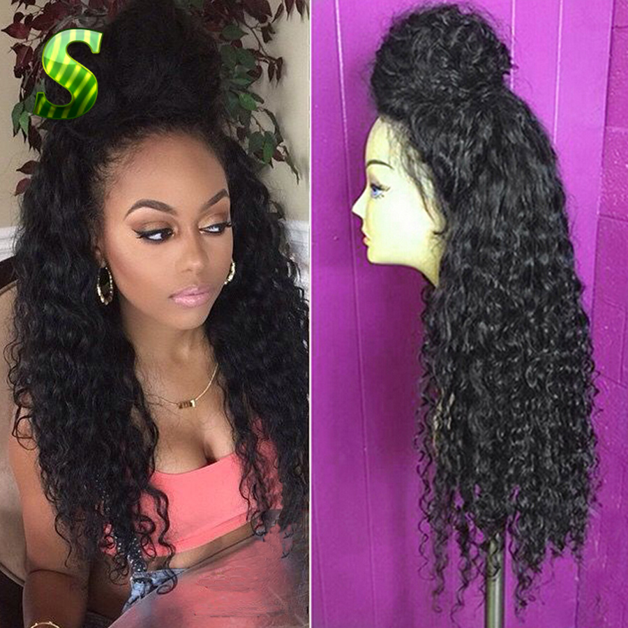 Glueless Lace Front Human Hair Wigs For Black Women Brazilian Virgin Hair Full Lace Front Wigs With Baby Hair Deep Curly Wigs<br><br>Aliexpress