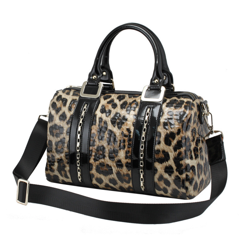 100% Genuine Leather Gandbag Cowhide Leopard Messenger Bags Women's Vintage Tote Day Clutch High Quality Handbags A45(China (Mainland))